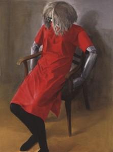 Modellpuppe im roten Kleid (1994) von Gudrun Brüne